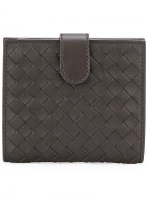 Плетеный кожаный складкой кошелек Bottega Veneta. Цвет: чёрный