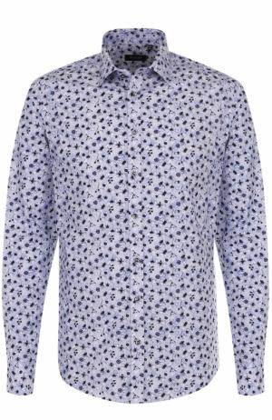 Хлопковая сорочка с принтом Sand. Цвет: голубой