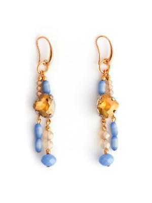Леди Джейн Роман с камнем. Цвет: голубой, золотистый