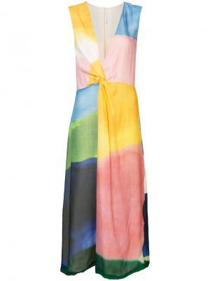 Платье миди в стиле колор-блок Rosetta Getty. Цвет: многоцветный