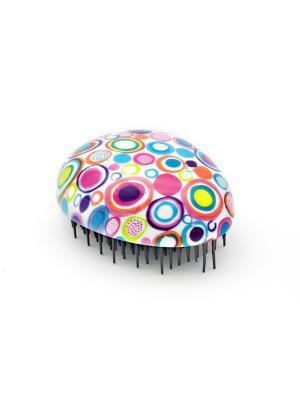 Распутывающая расческа Beautypedia Compact (принт круги). Цвет: голубой, розовый, белый