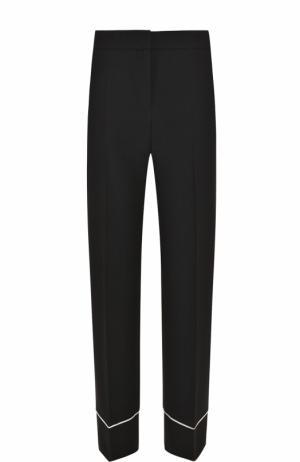 Укороченные брюки прямого кроя с контрастной отделкой BOSS. Цвет: черный