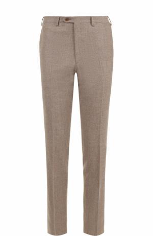 Шерстяные брюки прямого кроя Brioni. Цвет: темно-бежевый