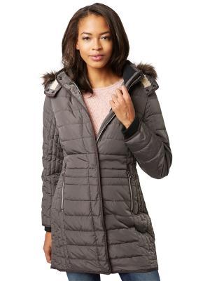Стеганое пальто TOM TAILOR. Цвет: серый