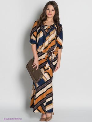 Платье МадаМ Т. Цвет: темно-синий, коричневый, бежевый