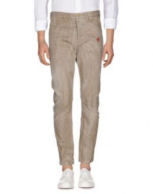 Джинсовые брюки DANIELE ALESSANDRINI. Цвет: песочный