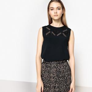 Блузка однотонная с круглым вырезом без рукавов SCHOOL RAG. Цвет: черный