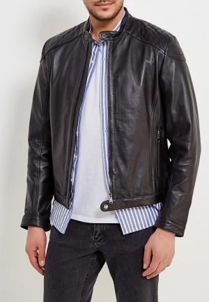 Куртка кожаная Geox. Цвет: черный