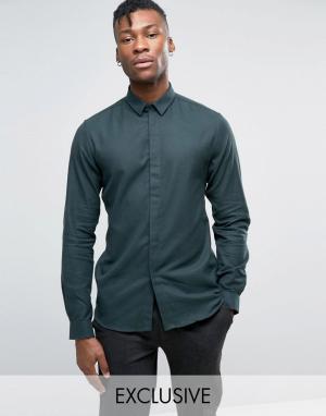 Heart & Dagger Облегающая саржевая рубашка. Цвет: зеленый