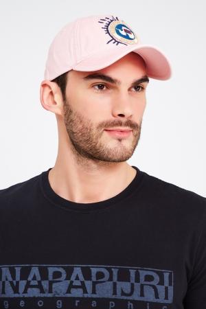 Розовая хлопковая кепка с нашивкой Napapijri. Цвет: розовый