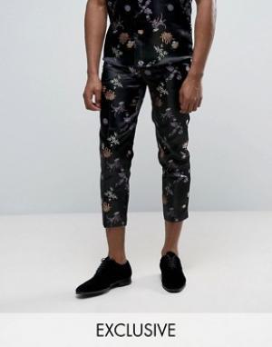 Reclaimed Vintage Парчовые брюки. Цвет: черный
