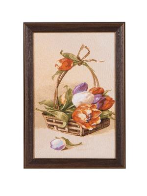 Гобеленовая картина в рамеКорзина тюльпанов 25х36 см Рапира. Цвет: бежевый,красный,зеленый