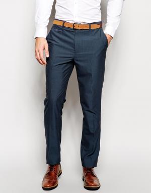 ASOS Синие строгие брюки узкого кроя. Цвет: синий