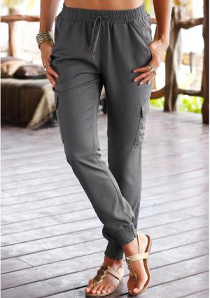 Пляжные брюки Lascana. Цвет: хаки, черный