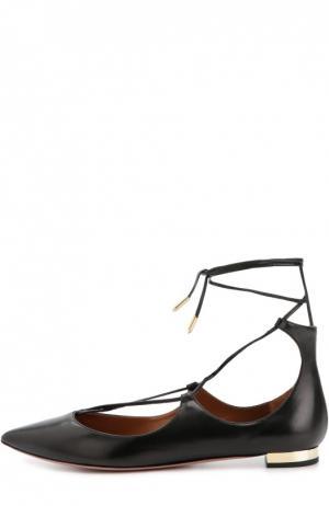 Кожаные балетки Christy на шнуровке Aquazzura. Цвет: черный