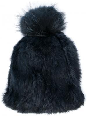 Меховая шапка Yves Salomon. Цвет: синий