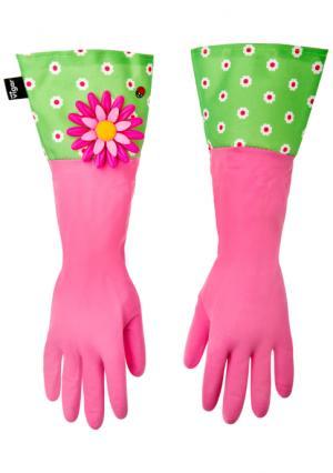 Перчатки для уборки FLOWER POWER VIGAR. Цвет: розовый (розовый, зеленый)