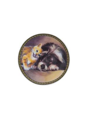 Тарелка декоративная Щенок с котенком Elan Gallery. Цвет: оранжевый, белый, черный