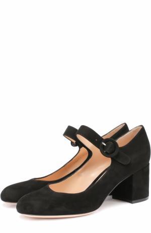 Замшевые туфли с ремешком Gianvito Rossi. Цвет: черный