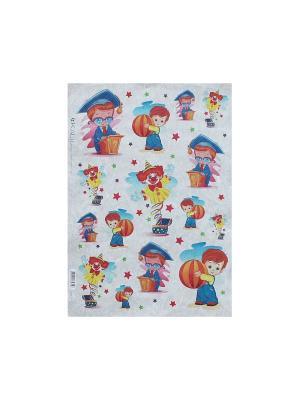 Декупажная карта 32*45 знайка клоун малыш Idigo. Цвет: сиреневый, прозрачный