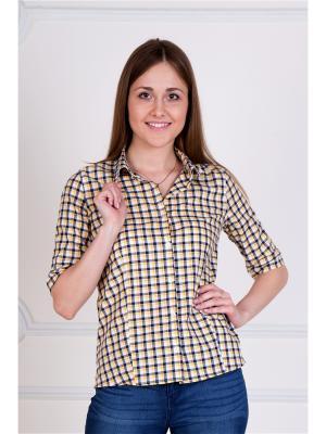 Рубашка в клетку Lika Dress. Цвет: антрацитовый, желтый