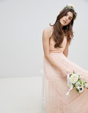 Little Mistress Платье макси с пайетками на топе и ярусной юбкой из тюля Mistre. Цвет: розовый