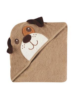 Полотенце с капюшоном , 1 шт., Luvable Friends. Цвет: коричневый
