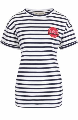 Хлопковая футболка в полоску с нашивкой Etre Cecile. Цвет: разноцветный