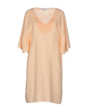 Короткое платье LA FABBRICA DEL LINO. Цвет: лососево-розовый