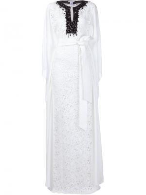 Платье-кафтан с декорированным вырезом Oscar de la Renta. Цвет: белый