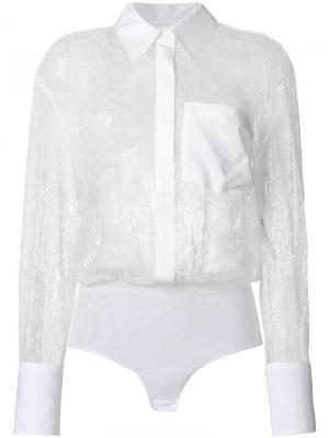 Прозрачная кружевная рубашка Dondup. Цвет: белый