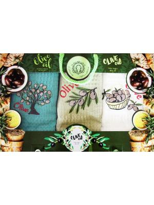 Набор кухонных полотенец в подарочной коробке Diva Afrodita. Цвет: зеленый, светло-желтый
