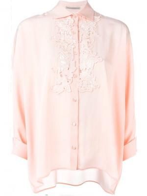 Рубашка с гипюровой вставкой Ermanno Scervino. Цвет: розовый и фиолетовый
