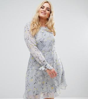 Alice & You Приталенное платье с расклешенной юбкой и цветочным принтом Yo. Цвет: мульти