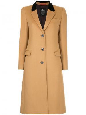 Пальто с бархатным воротником Loveless. Цвет: коричневый