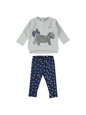 Комплект (жакет, брюки) IDO. Цвет: темно-синий, серый