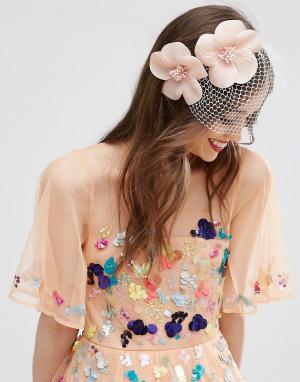 ASOS Ободок для волос с вуалеткой и цветами Occasion. Цвет: розовый