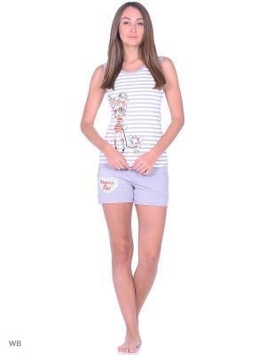 Комплект: футболка, шорты NAGOTEX. Цвет: серый, белый