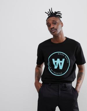 Wood Черная футболка с большим логотипом Seal. Цвет: черный
