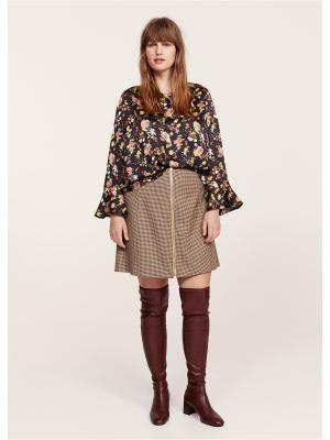 Блузка - SIXTY Violeta by Mango. Цвет: коричневый, темно-синий