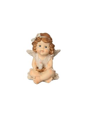 Фигурка декоративная Ангелочек со свечкой Elan Gallery. Цвет: бежевый, золотистый, коричневый