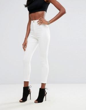 Missguided Укороченные супероблегающие джинсы с завышенной талией Vice. Цвет: белый