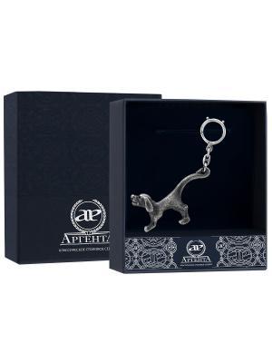 Брелок для ключей - открывалка Собака с чернью + футляр АргентА. Цвет: серебристый