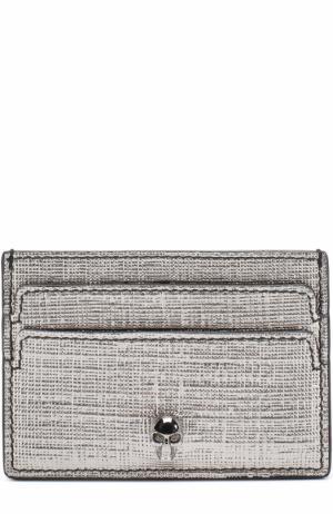 Кожаный футляр для кредитных карт с черепом Alexander McQueen. Цвет: серебряный