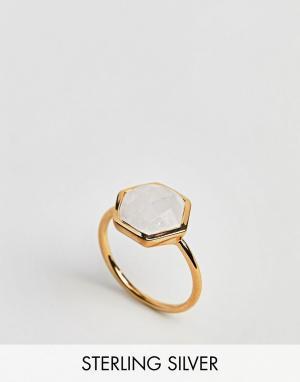 Carrie Elizabeth Кольцо с шестигранным лунным камнем. Цвет: золотой