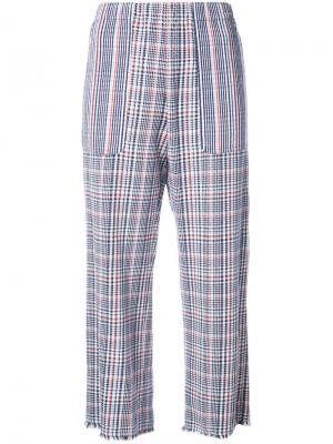 Укороченные брюки с узором тартан Raquel Allegra. Цвет: синий