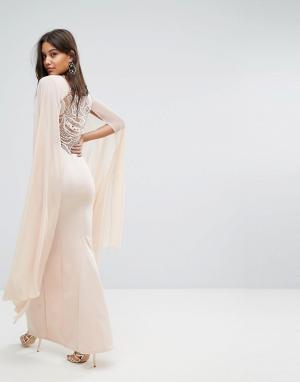 Lipsy Платье макси с кейпом. Цвет: розовый
