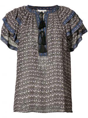 Блузка с V-образным вырезом и оборками Ulla Johnson. Цвет: синий