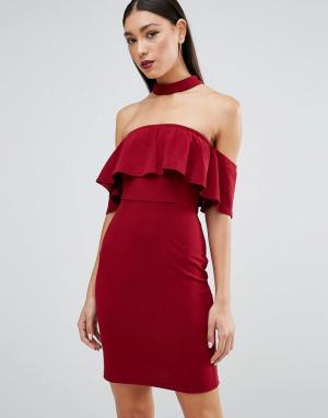 Parisian Платье с горловиной‑чокер. Цвет: красный