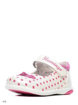 Туфли Flamingo. Цвет: молочный, фуксия